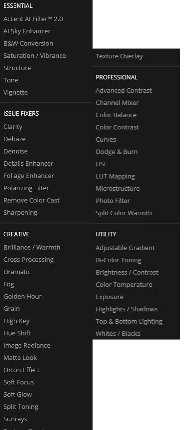 Luminar's filters